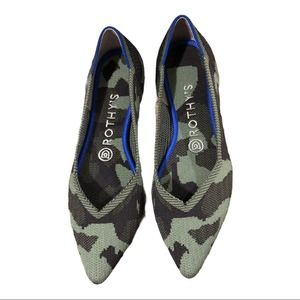 Rothy's Olive Camo Pointed Toe Flat 7.5
